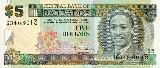 Face side of 5 dollars of Barbados