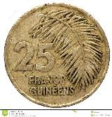 25 Guinean franc coin, 1987, reverse ...