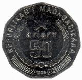 Back: 50 Ariary Coin: (250 Malagasy Franc ...