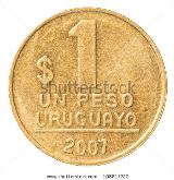 one Uruguayan peso coin - stock photo